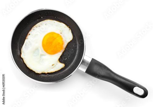 Deurstickers Gebakken Eieren Fried egg in a frying pan, over white background