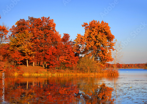 Foto op Canvas Rood traf. Autumn landscape in twilight