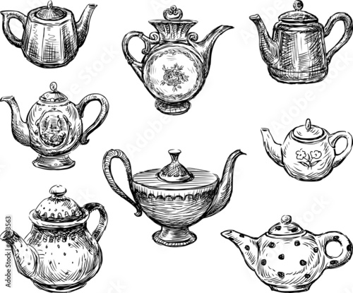 Fotomural collection of the teapots
