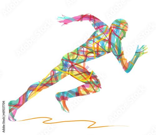 sagoma astratta di uomo che corre