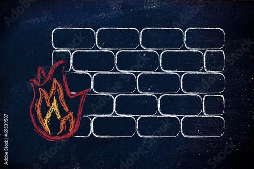 Fotografía  funny firewall design and internet security