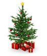 christmas tree and gift parcels