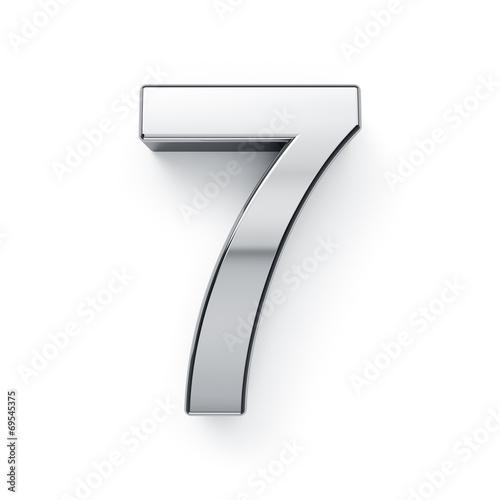Poster  3d render of metalic digit simbol - 7