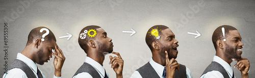 Fotografie, Tablou Emotional intelligence.Side Headshot thinking man found solution