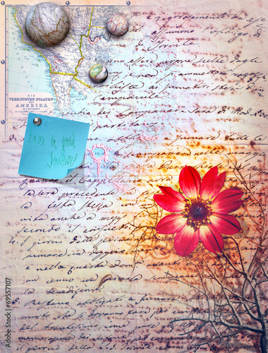 Aluminium Prints Imagination Scrapbook ,collage and patchwork background series