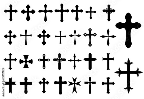 Cuadros en Lienzo Religion Cross symbols set