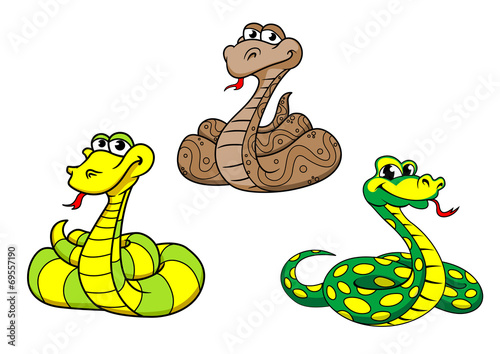 Fotografering  Cartoon snake characters set