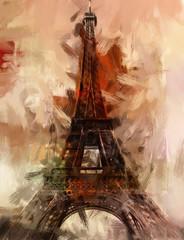 Obraz Paris Gemälde Eiffelturm Eifelturm Bild Kunst Ölgemälde