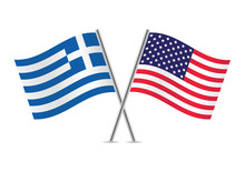 American And Greek Flags. Vect...