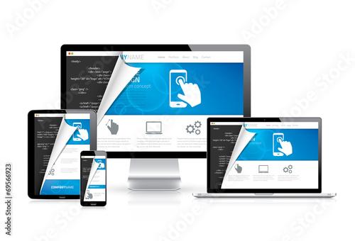 Responsive web design vector with html code script in