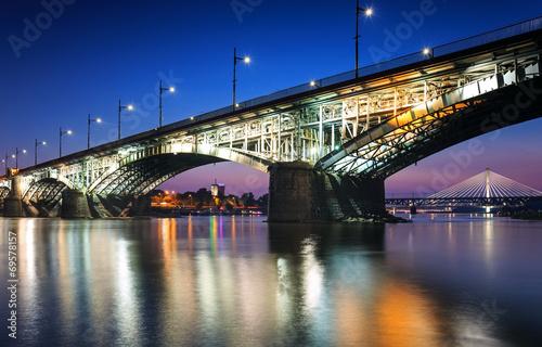 Fototapeta Two bridges illuminated in Warsaw obraz