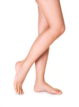 Healthy Woman Legs. Isolated On White. Walking.