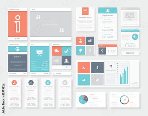 Fotomural  Clean and fresh user interface (ui) infographics vector elements