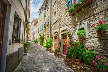 Fototapeta na wymiar  Italian street in a small provincial town of Tuscan