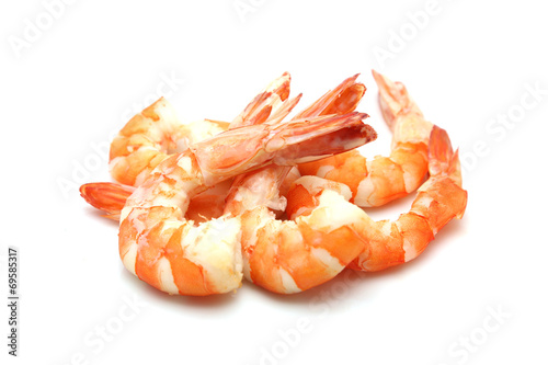 Poster Coquillage shrimp isolated on white background