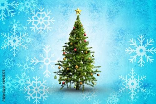 Spoed Fotobehang Lichtblauw Composite image of christmas tree on white background