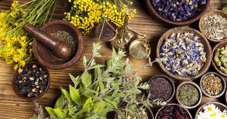 Fototapeta Przyprawy Natural medicine, herbs, mortar