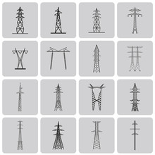 Electrical Transmission Tower Black Icon Set2. Vecter Illustrati