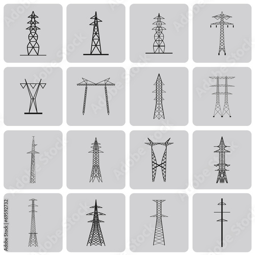 Valokuva  Electrical transmission tower black icon set2. Vecter Illustrati