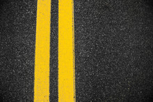 Highway Surface With Two Yello...