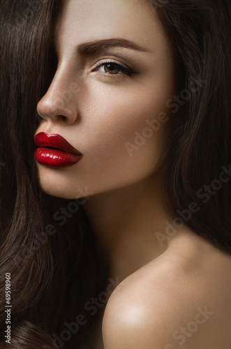 Posh brunette woman with sexy red lips and perfect pure skin Poster