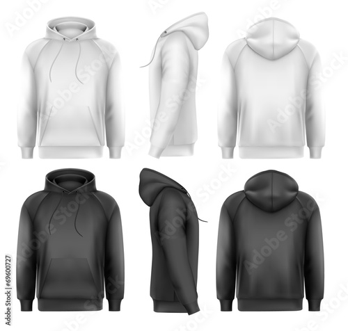 Obraz Set of black and white male hoodies with sample text space. Vect - fototapety do salonu