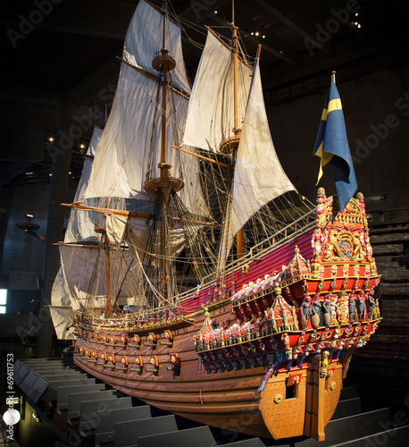 A 1:10 scale model of the warship at the Vasa Museum Wallpaper Mural