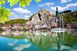 canvas print picture - Meuse river with Collegiale Notre Dame, Belgium