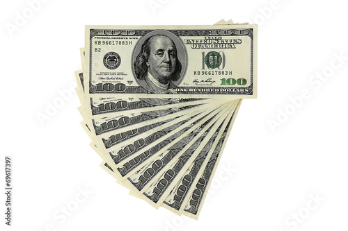 Fotografiet Money - USD -  One Thousand Dollars - isolated object