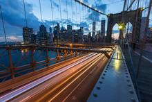 Brooklyn Bridge In New York At Dusk