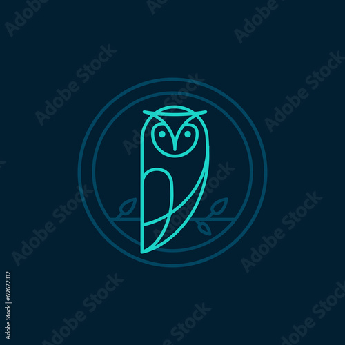 Canvas Prints Owls cartoon Vector owl icon in outline style