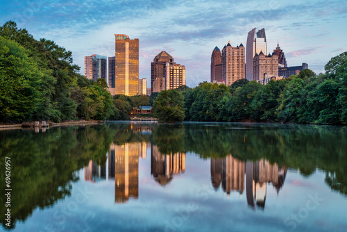 Skyline of downtown Atlanta, Georgia from Piedmont Park Wallpaper Mural