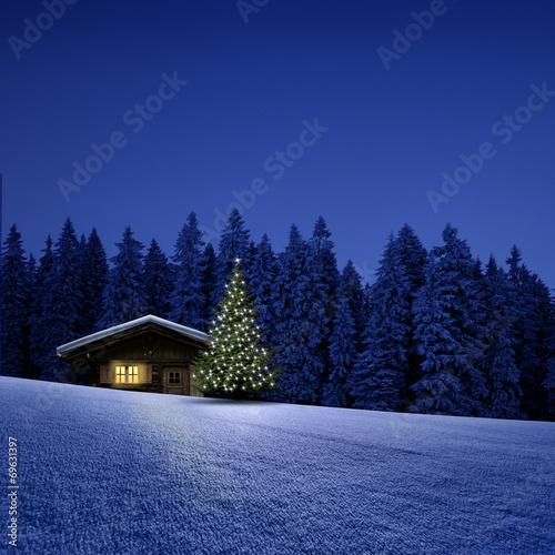 Foto-Doppelrollo - Schihütte mit Weihnachtsbaum (von by-studio)