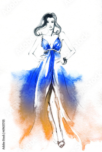Staande foto Aquarel Gezicht woman in dress