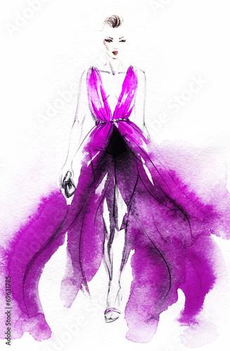 Poster Aquarel Gezicht woman in dress