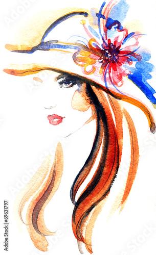 Foto op Aluminium Aquarel Gezicht woman portrait .abstract watercolor .fashion background