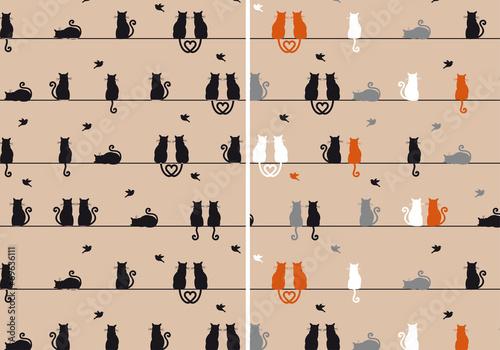 fototapeta na szkło cats with birds, seamless pattern, vector set