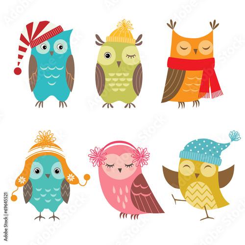 Deurstickers Uilen cartoon Winter owls
