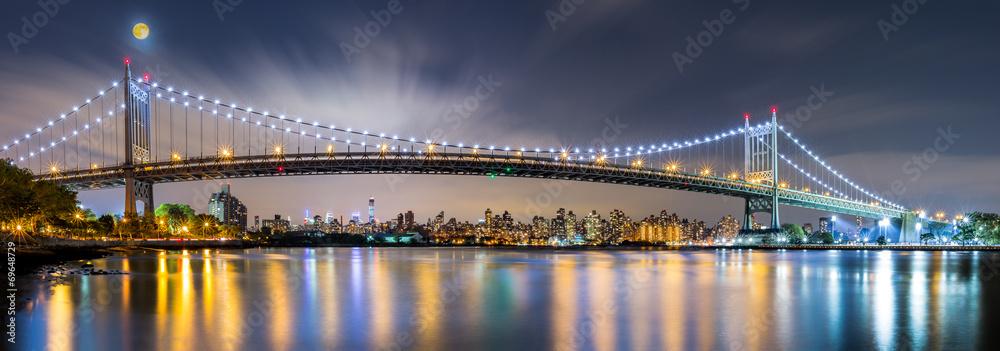 Fototapety, obrazy: Triboro Bridge panorama at night