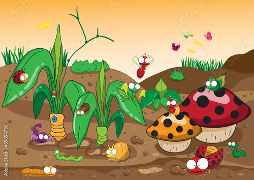 Deurstickers Magische wereld Insects family on the ground and tree. Insects cartoon and vecto
