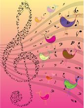 Color Vector Music Notes Backg...