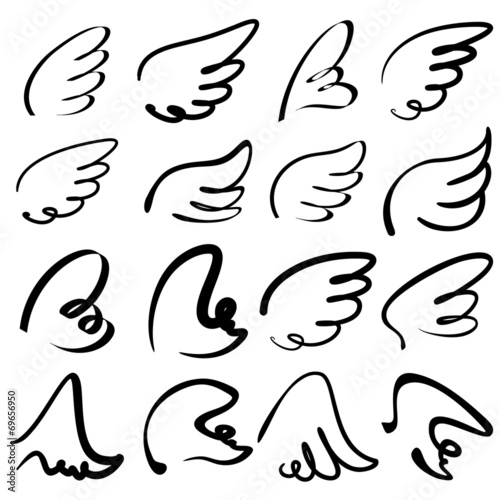 Fotografie, Obraz  Wings sketch collection cartoon vector illustration