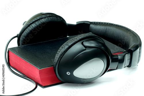 Fotografie, Obraz  Bible and headphones on white background