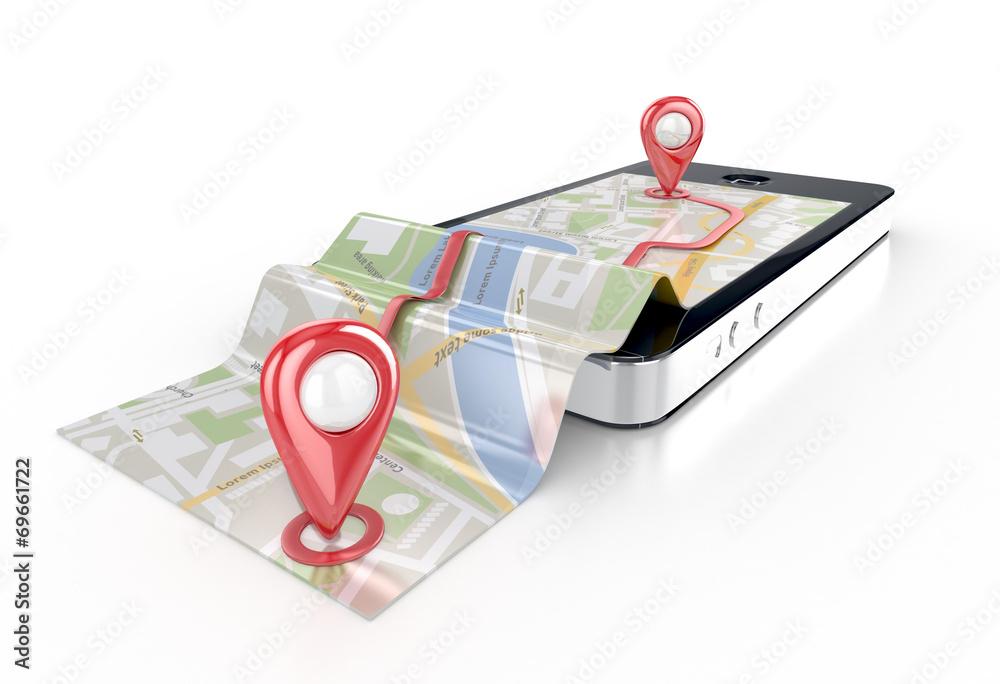 Fototapeta smart phone navigation - mobile gps 3d illustration