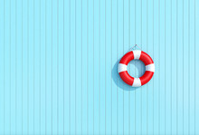 Red Lifebuoy On A Blue Wooden Plank Wall, Summer Concept
