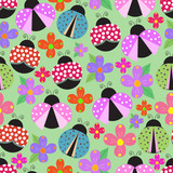 Seamless background with beetles and flowers