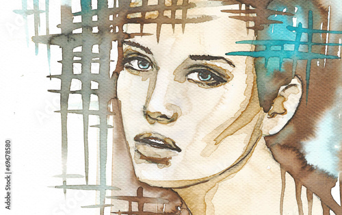 Poster Inspiration painterly illustration of the abstract portrait of a woman