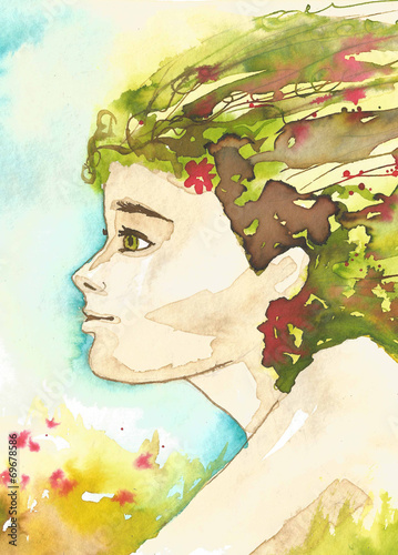 Fototapety, obrazy: illustration of the abstract portrait of a woman
