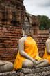 Ancient Buddha statue at Chaiwatthanaram Temple, Ayutthaya
