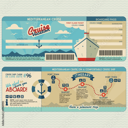 Cruise ship boarding pass design template Tapéta, Fotótapéta